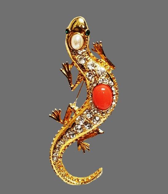 Lizard Gecko brooch. Gold plated, rhinestones, faux pearl, coral cabochon