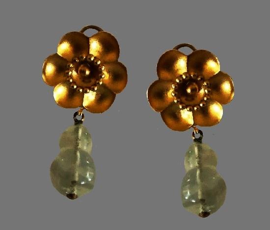 Made in 1992 Gold Vermeil Flower Drop Gemstone Earrings