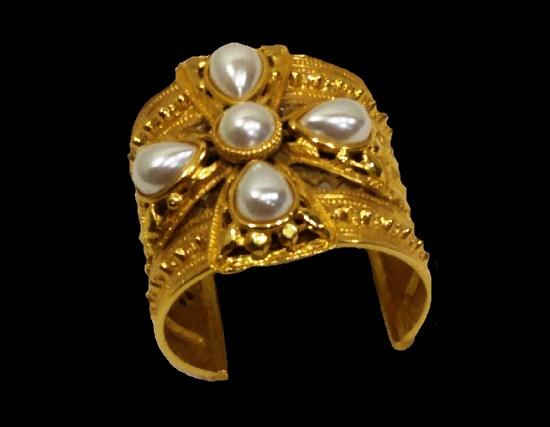 Maltese cross design gold tone faux pearls cuff bracelet