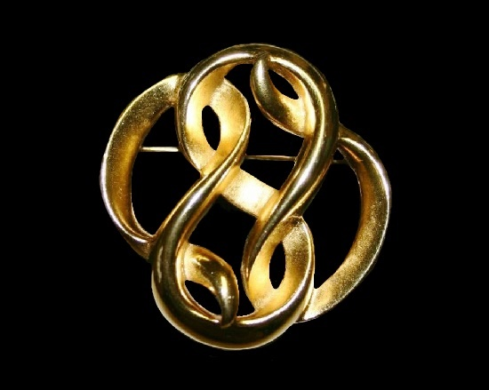 Matte gold tone swirl brooch pin