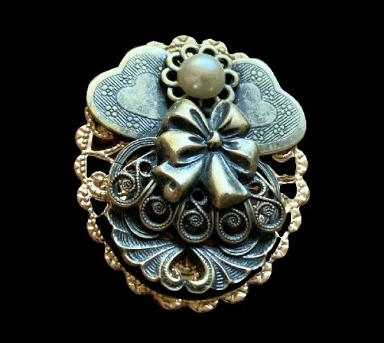 Mixed metals Angel brooch pin. Gold and silver tone filigree work. 1998
