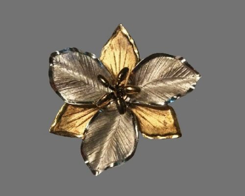 Mixed metals lower brooch. Sterling silver, gold plated, art glass