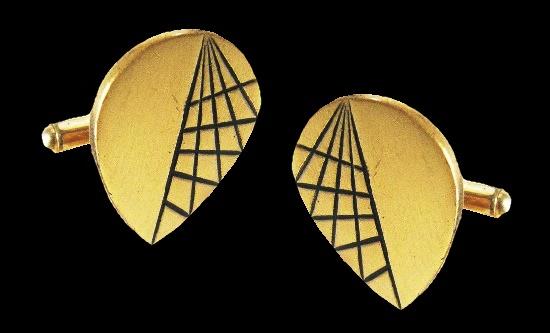 Modernist design cufflinks. Gold tone metal black enamel