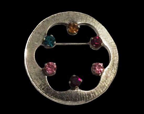Multi Color rhinestones wreath design pin of sterling silver