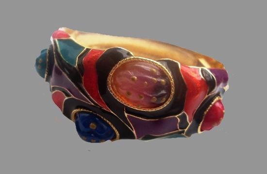 Multicolor enamel, art glass, gold tone metal. 1980s