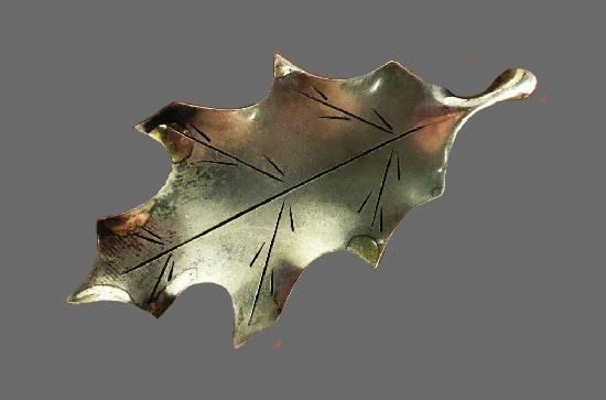 Oak Leaf Brooch. Sterling silver