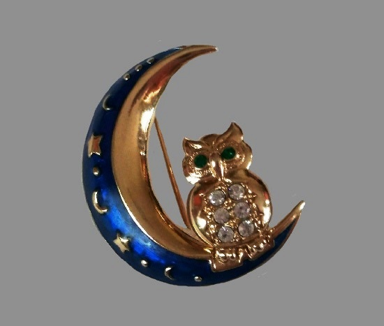 Owl on the Moon brooch pin. Blue enamel, rhinestone, gold tone