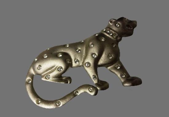 Panther brooch. Pewter tone metal, rhinestones