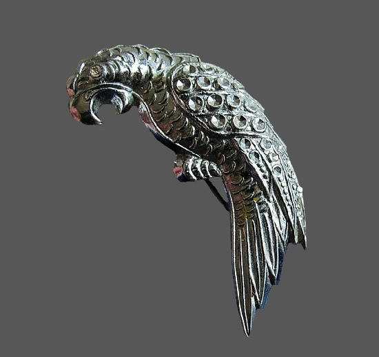 Parrot brooch pin. Sterling silver, faux marcasite