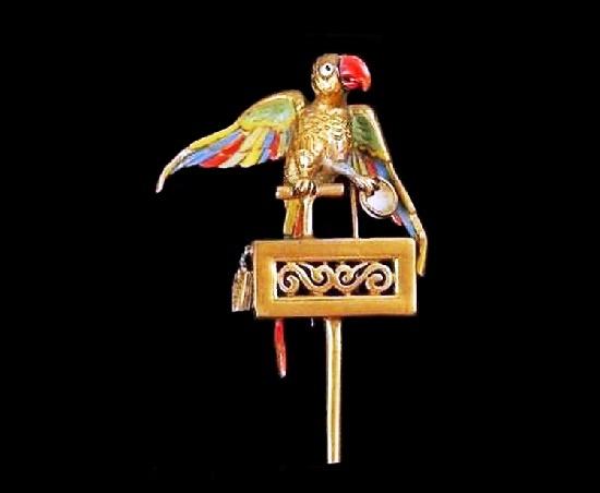 Parrot brooch. Gold tone metal, enamel. 1940s