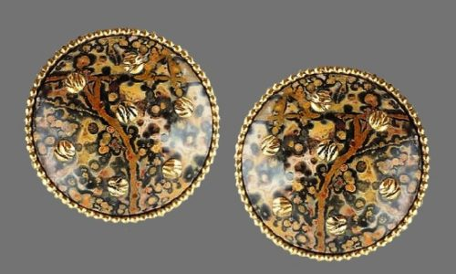 Patterned earrings. Faux agate with rhinestones and applied gold tone charms