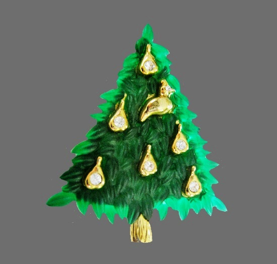 Pear decorated Christmas tree brooch. Gold tone alloy, lucite, enamel, rhinestones