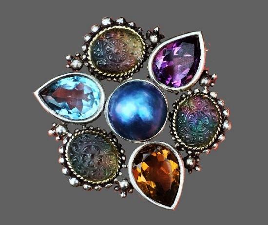 Pearl, topaz, amethyst, citrine floral design sterling silver brooch