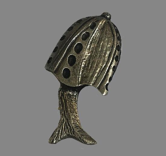 Pewter Mushroom Pin Brooch