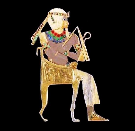 Pharaoh Egyptian revival style brooch. Gold tone metal, enamel, rhinestones