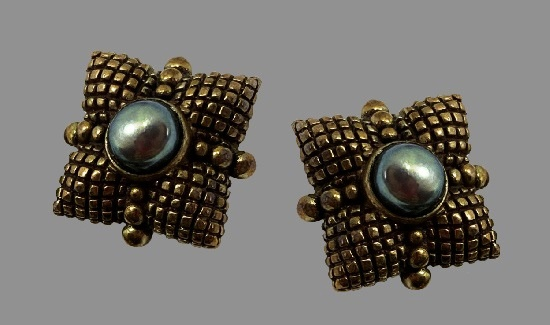 Pillow shaped clip on earrings. Gold Tone Sterling Silver, Black Pearl