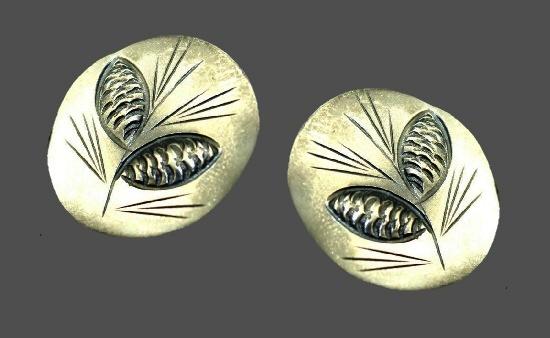 Pine cone cufflinks. Sterling silver. 1950s