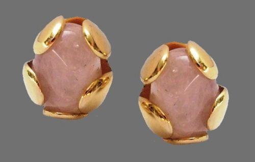 Pink Rose Quartz Gold Tone earrings