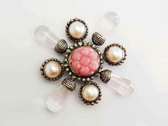 Pink gemstones pearls sterling silver cross pin