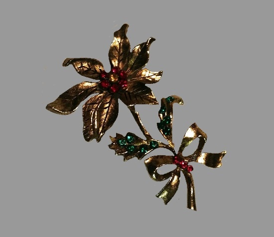 Poinsettia Bow brooch pin. Gold tone, rhinestone