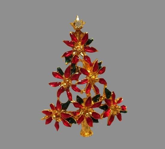 Poinsettia Christmas tree brooch. Gold tone, enamel, faux pearls