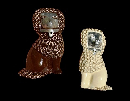 Poodle pair brooch. Jewelry alloy, enamel of chocolate and milky color. 1940s. 12 cm