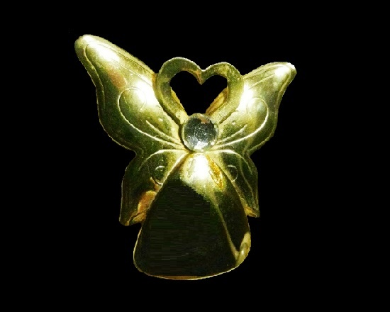 Puffy Angel with heart brooch pin. Gold tone metal, rhinestone pin