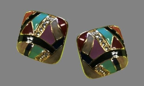 Purple and black enamel gold tone rhinestones clip on earrings