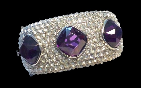 Purple and clear crystal bracelet, silver tone metal