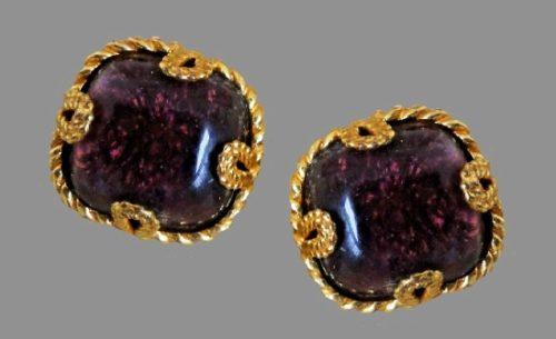 Purple art glass gold tone metal clip on earrings