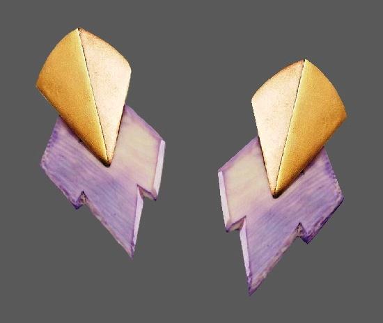 Purple plastic sterling silver clip on earrings
