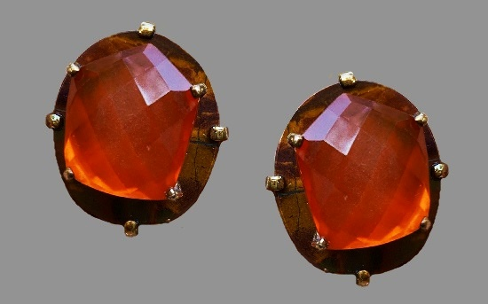 Red agate encased in crystal quartz and barkstone bronze clip on earrings