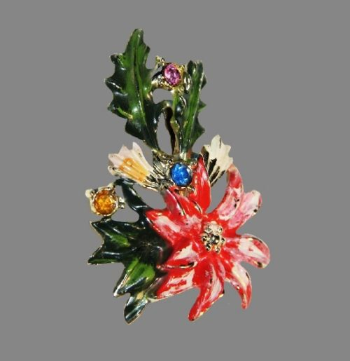 Red flower brooch. Jewelry alloy, green and red enamel, Swarovski crystals. 5.5 cm. 1970s