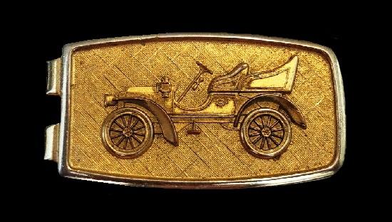 Retro automobile money clip. Gold tone textured metal