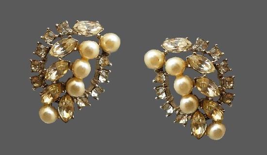 Rhinestone Faux Pearl Clip On Earrings