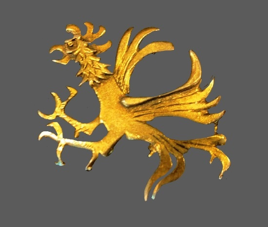 Rooster brooch. Gilding over pewter. 1970s