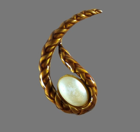 Rope drop shaped faux pearl gold tone pin brooch