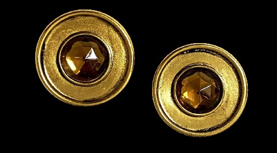 Round shaped gold tone amber glass cabochon earrings