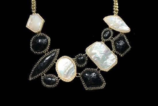 Runway Haute Couture vintage necklace. Mother of Pearl, gold tone jewelry alloy, resin