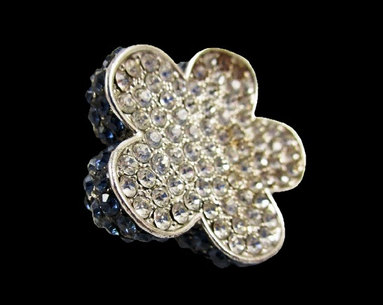 Sapphire and clear rhinestone silver tone metal flower shaped ring