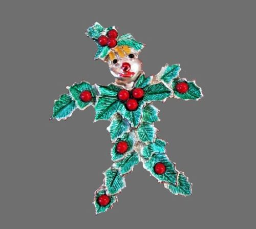Scarecrow Christmas brooch. Silver tone textured metal, enamel, glass beads