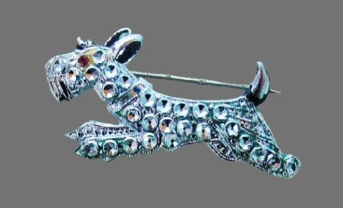 Scottish terrier pin, from the animal series of brooches of faux marcasite