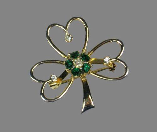 Shamrock St Patrick's Day brooch pin. Gold tone metal, rhinestones