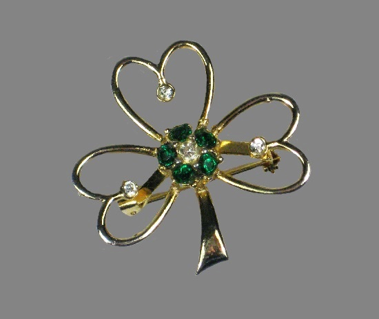 Shamrock St Patrick's Day brooch pin. Gold tone metal, rhinestones