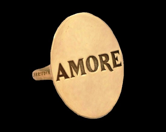 Signed 'Amore' ring. 18 K gold