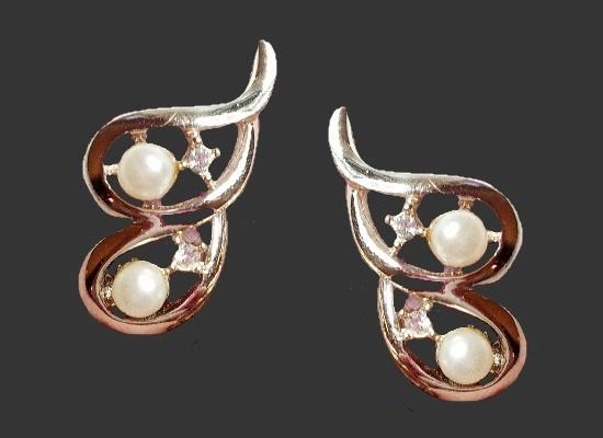 Silver tone faux pearls, rhinestones clip on earrings. 1940s