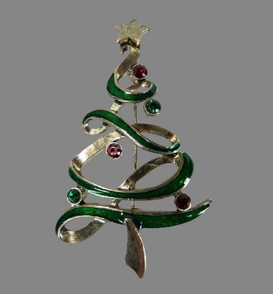 Silver tone rhinestones X-mas tree brooch