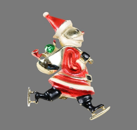 Skating Santa enameled brooch pin. 1970s