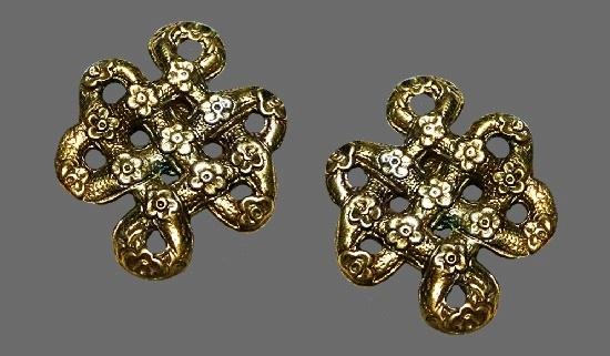 Snake knot flower design earrings. Sterling silver