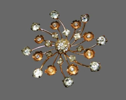 Snowflake brooch. Sterling silver, gold plated, rhinestones